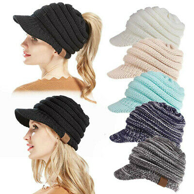 Women's Stretch Knit Hat Messy Bun Ponytail Beanie Winter Warm Hole Hat