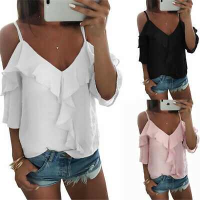 UK Womens Cold Shoulder Ruffle T-Shirts Ladies Summer Beach Loose Tops Blouse
