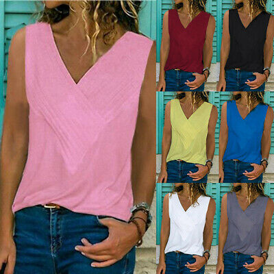 Womens Summer Vest Top Cami Shirt Cotton Strappy Loose Blouse Basic Tee T-Shirt
