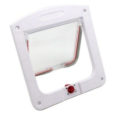 Safe Lockable Pet Cat  Small Dog Flap Door White Frame Screen Locking 4 way