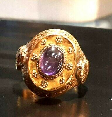 Ancient 22K Solid Greek Gold Best Amethyst Cabochon Georgian granulation Ring