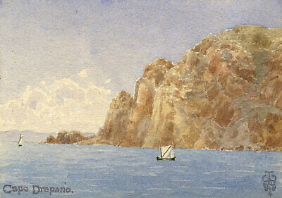 Sir Edgar Thomas Wigram, Cape Drepano, Sithonia, Greece -Early C20th watercolour