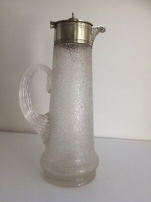 Antique Victorian Silver Plate & Frosted Glass Claret Jug