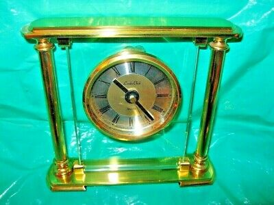 mantle clock london clock company glass brass metal quartz,gold coloured solid