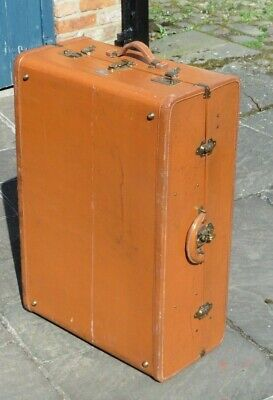 Antique leather steamer trunk with fitted interior