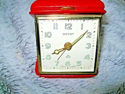 Vintage German PETER Folding Travel Alarm Clock.Good Condition