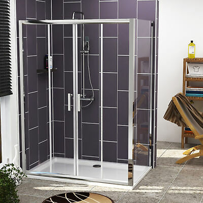 Sliding Shower Enclosure Double Door Tempered Glass Walk In Cubicle Stone Tray