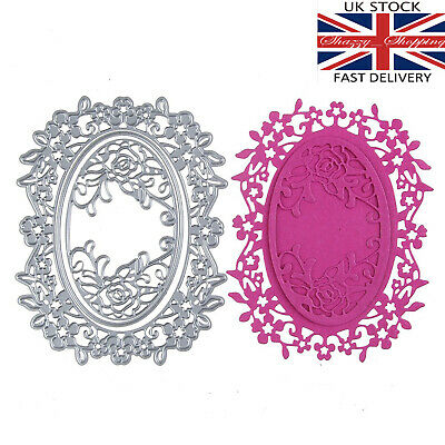 Rose oval lace frame die set background 3 Piece metal cutting die cutter UK