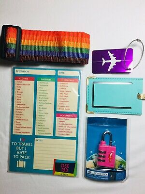 TRAVEL ACCESSORY LOT Luggage Tags, Strap, TSA Lock, Packing List Pad Of 40