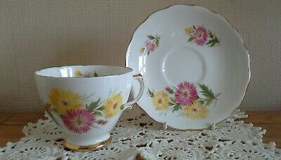 Vintage Crown Regent cup, saucer, china, flowers, pink, yellow