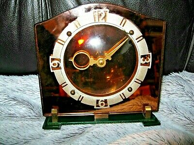 Rare Vintage Art Deco Glass Mechanical Desk Clock, Mid Century, Made in Britain