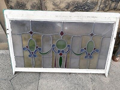 Original stained glass window 1040 x 560mm slight damage (2 panes)