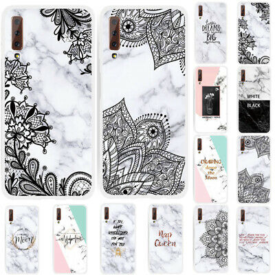 For Samsung Galaxy A7 A6 Plus 2018 Marble Silicone Painted Soft TPU Case Cover