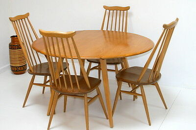Vintage Ercol Drop Leaf Table and 4 Goldsmith Chairs.1960s. Fully Restored. Mint