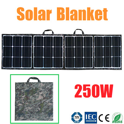 250W Folding Solar Panel Blanket Portable Solar Bag Mono 12V Battery Charging