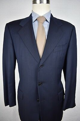 Hickey Freeman Navy Blue 100% Worsted Wool Three Button Two Piece Suit Size: 40R