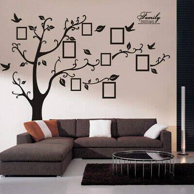 Family Tree Wall Decal With Picture Frames Black Large Decal Vinyl Wall Sticker