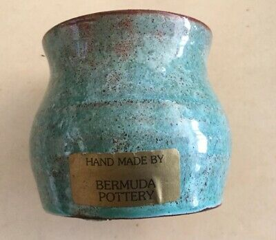 Artist sign Pottery Blue Green Glazed Drip Stoneware Bermuda Pottery Dish 3 X 3""
