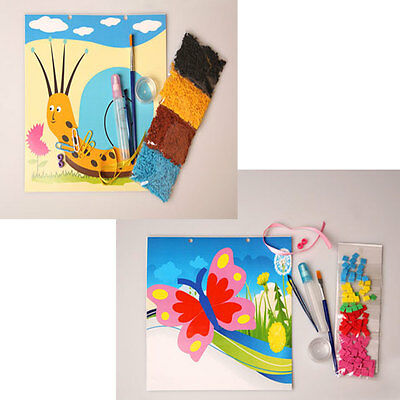 2 sets, 1 foam mosaic kits butterfly, 1 crepe at kits snail, retail 3.99 each on