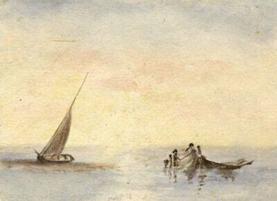 Hannah Mary Rathbone, Seascape in Miniature - 19th-century watercolour painting
