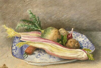 Hannah Mary Rathbone, Vegetables Still Life - 1868 watercolour painting