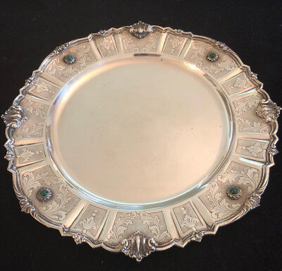 Silver 800 Italian Milan Mark Platter cir 1935 with Semi-precious Stones