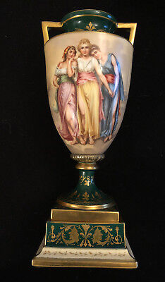 19th c Royal Vienna Hand Painted and Artist Signed Porcelain Urn Vase with Lidd