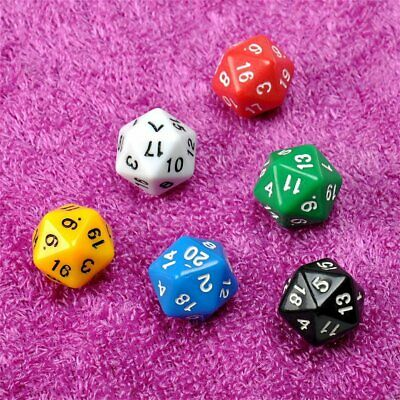 6pcs/set D20 Dice Opaque Twenty Sided Dice Multi Color Gaming Resin Polyhe I⊥