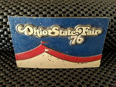 Vintage Ohio State Fair 1976 Belt Buckle! Lewis Buckles..Red White Blue