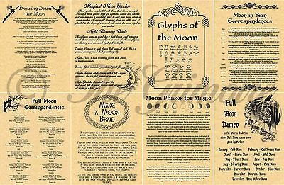 Book of Shadows Pages, MOON SPELLS & INFO, Wicca, Witchcraft, BOS, Pagan