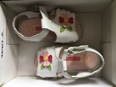 Baby Toddler Girl Sandals Size 4 Leather Upper Velcro