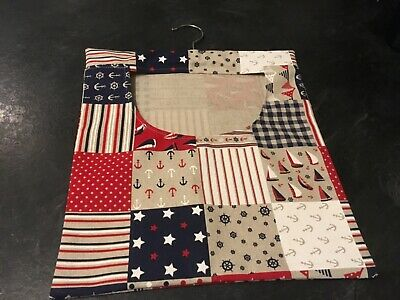 Hand Made Laundry Peg Bag With Wooden Hanger Fabric Linen Sailing Theme