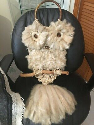 "Mid Century Macrame Real Wool Owl Wall Hanging Hand Made By Me- Approx 26"" Long"