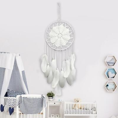 Handmade Feathers Beads Crochet Dream Catcher Iron Ring Wall Art Hang Decor