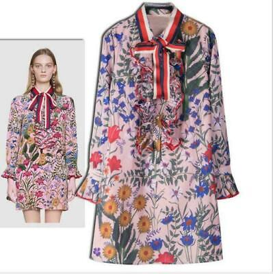 2019 Womens luxury Designer Inspired Floral Bubble Sleeves  Dress