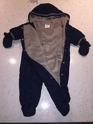 Baby Boys NEXT Quilted Soft Lined Snowsuit W/ Mitts Hood 3-6m