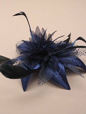 Allsorts Navy Blue Feather Comb Fascinator Ladies Day Royal Ascot Weddings