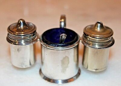 Silver Plated Cruet Set With Blue Glass Liner & Mustard Spoon c1892-1921