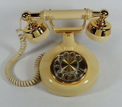 Vintage Western Electric Bell Rotary Dial Telephone, Gold Art Deco **TESTED!**