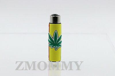 1x Clipper  Leaves Refillable Full Size Lighter With Rubber Cover Rasta