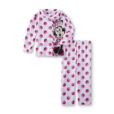 Disney Toddler Girls Pink Polka Dot Minnie Mouse Flannel Pajamas Sleep Set 4T