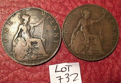 2 Heaton Mint George V 1912 Pennies (1912H) Job Lot 732