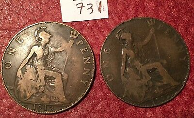 2 Heaton Mint George V 1912 Pennies (1912H) Job Lot 731
