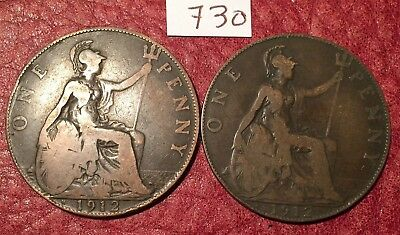 2 Heaton Mint George V 1912 Pennies (1912H) Job Lot 730