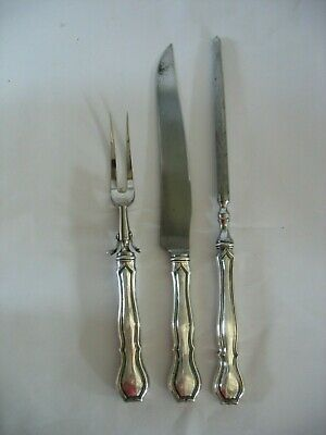 Vintage RW&S R Wallace & Sons 3 Pc Sterling Silver Handled Meat Carving Set HH