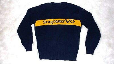 83ecea27a6cdb RARE! VTG SEAGRAM S VO Whisky Knit Sweater - Navy Blue Made in USA ...