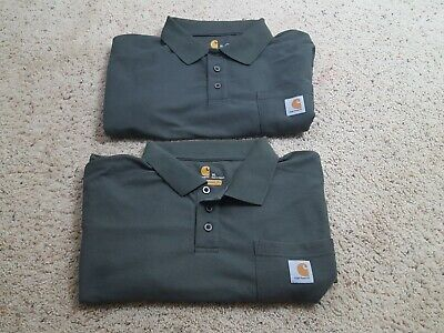 60574243 Carhartt Original Fit Mens Green Short Sleeve Pocket Polo Shirt Size XL Lot  of 2