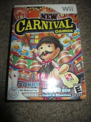 New Carnival Games (Nintendo Wii, 2010) NEW Sealed w/ Motion Plus Bundle