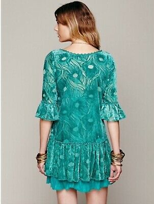 ff1365d4bf1df Free People Women's Green Ruffle Peacock Feather Velvet Peasant Dress Size  XS