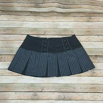 cd2c84593e TRIPP NYC SIZE XL Mini Pleated Skirt Black Gray Striped Chains Goth ...